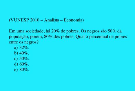Porcentagem Problema 1 Vunesp 2010 Analista Economia Matematica Afins