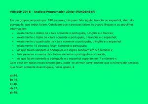 Operacoes Com Conjuntos Problema 1 Vunesp 2016 Analista Programador Junior Fundenesp Matematica Afins